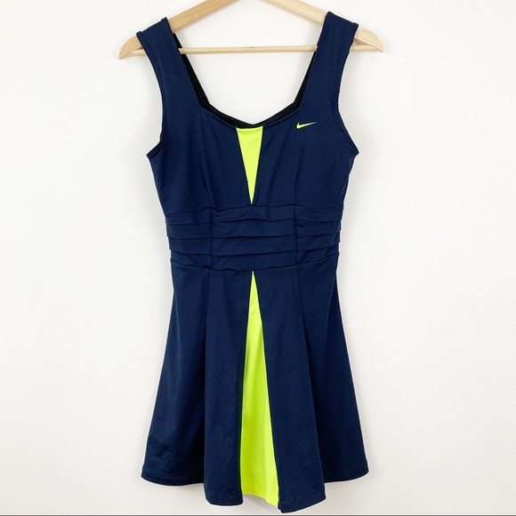 Nike Dresses & Skirts - Nike Tennis Dress Dri-Fit Sz Small Shelf Bra Navy